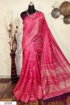 Gajari color Soft raw silk checks border saree