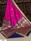 Pink color Banglori raw silk zari woven work saree