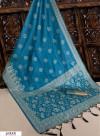 Blue color Handloom raw silk weaving saree