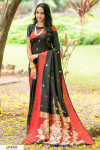 Black color soft cotton weaving work saree
