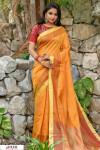 Yellow color Chanderi Cotton checkered Work saree