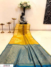 Yellow color Banglori raw silk zari woven work saree