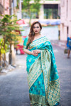 Rama green color Soft Banarasi Silk Weaving checkered Work saree