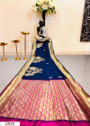 Navy blue color Banglori raw silk zari woven work saree