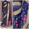 Navy blue color Handloom chanderi cotton weaving Work saree