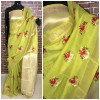 Green color Linen silk Embroidered work saree