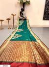 Rama green color Banglori raw silk zari woven work saree