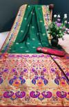 Rama green color Paithani silk weaving work saree