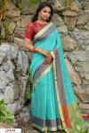 Rama green color Chanderi Cotton checkered Work saree