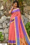 Peach color Chanderi Cotton checkered Work saree