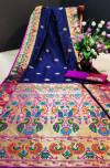 Navy blue color Paithani silk weaving work saree