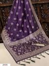 Navy blue color Handloom raw silk weaving saree
