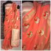 Peach color Linen silk Embroidered work saree