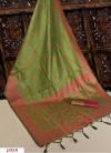 Green color Handloom raw silk weaving saree