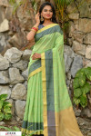 Green color Chanderi Cotton checkered Work saree