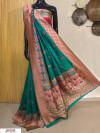 Rama green color Banarasi silk meenakari saree