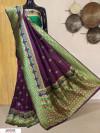 Wine color Banarasi silk meenakari saree