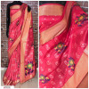Red color Handloom chanderi cotton weaving Work saree