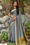 Gray color Chanderi Cotton checkered Work saree