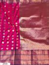 Pink color Kanjivaram Soft Silk Zari work saree