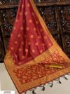 Red color Handloom raw silk weaving saree