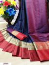 Blue color Pure kota muslin silk woven design saree
