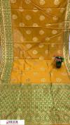Yellow color Banarasi silk meenakari saree