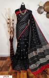 Black color Raw silk checks border saree