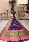 Navy blue color Banarasi silk weaving meenakari saree