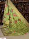 Green color Pure Linen Digital printed saree