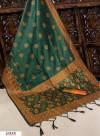 Rama green color Handloom raw silk weaving saree