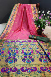 Gajari color Paithani silk weaving work saree