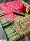 Gajari color soft banarasi silk weaving work saree