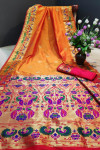 Orange color Paithani silk weaving work saree