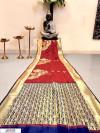Red color Banglori raw silk zari woven work saree