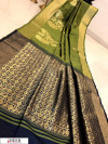 Green color Banglori raw silk zari woven work saree