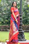 Red color soft cotton weaving work saree