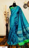 Blue color Raw silk checks border saree