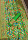 Green color Patola Silk woven design saree