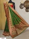 Mehndi green color Banarasi silk meenakari saree