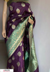 Purple color Banarasi silk meenakari saree