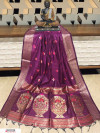 Wine color Handloom cotton weaving saree