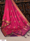 Pink color Soft Raw silk embroidered work saree