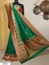 Green color Banarasi silk meenakari saree