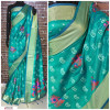 Rama green color Handloom chanderi cotton weaving Work saree