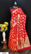 Red color Soft Banarasi silk weaving work saree