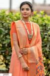 Orange color Handloom cotton weaving patola saree