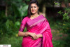 Pink color Soft raw silk temple work saree