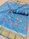 Sky blue color Linen silk Embroidered work saree