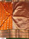 Orange color Kanjivaram Soft Silk Zari work saree